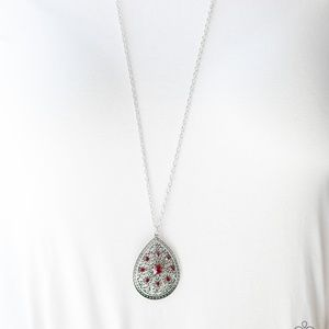 Silver Necklace W/ Ruby Red Colored Rhinestones